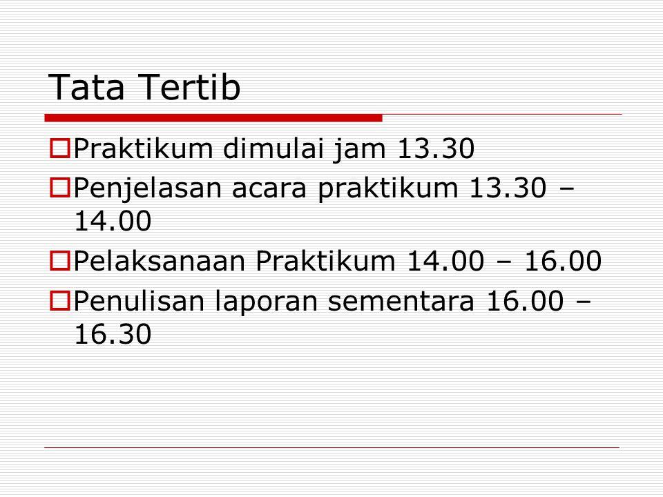 Tata Tertib Praktikum dimulai jam 13.30