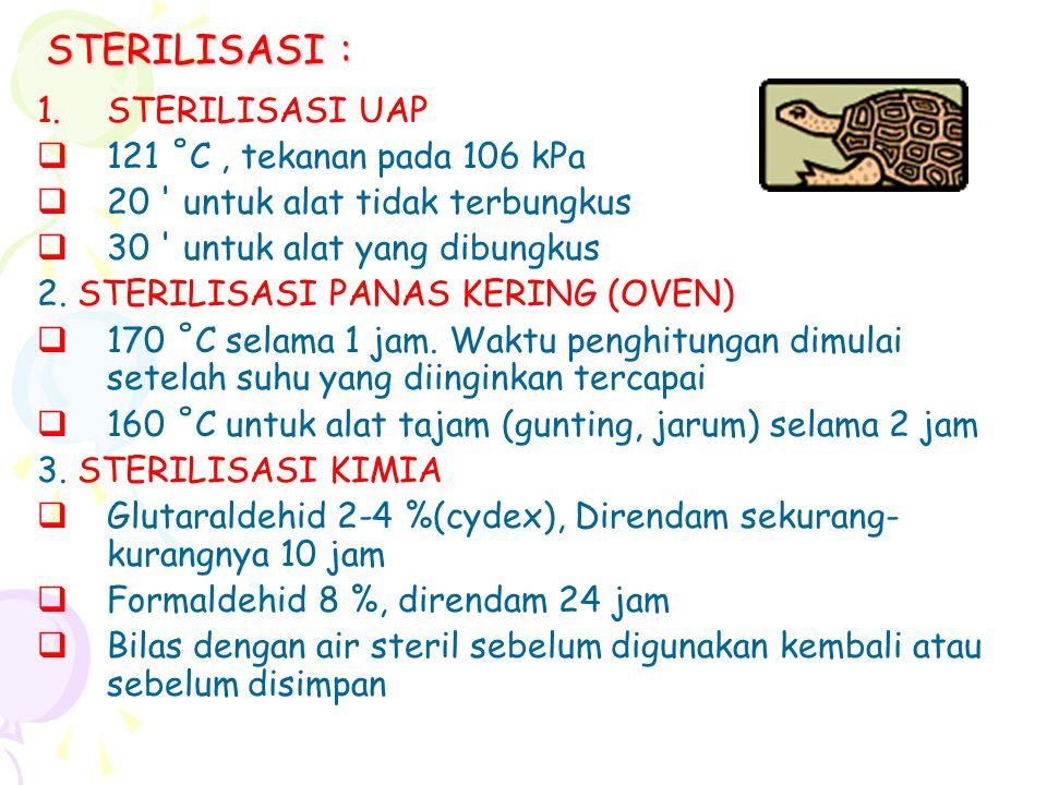 STERILISASI : STERILISASI UAP 121 ˚C , tekanan pada 106 kPa