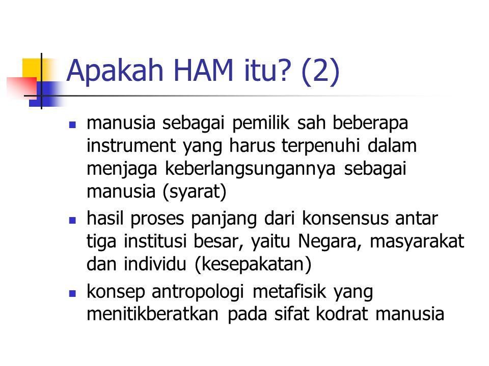Apakah HAM itu (2) manusia sebagai pemilik sah beberapa instrument yang harus terpenuhi dalam menjaga keberlangsungannya sebagai manusia (syarat)