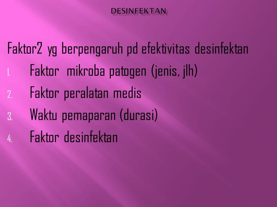 Faktor2 yg berpengaruh pd efektivitas desinfektan