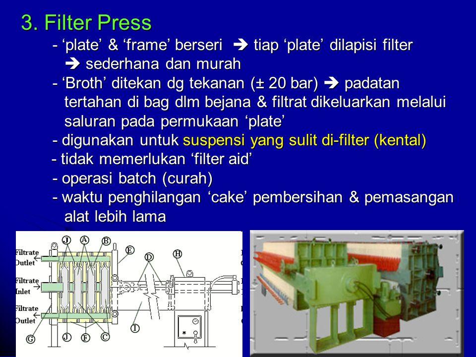 3. Filter Press - 'plate' & 'frame' berseri  tiap 'plate' dilapisi filter.  sederhana dan murah.