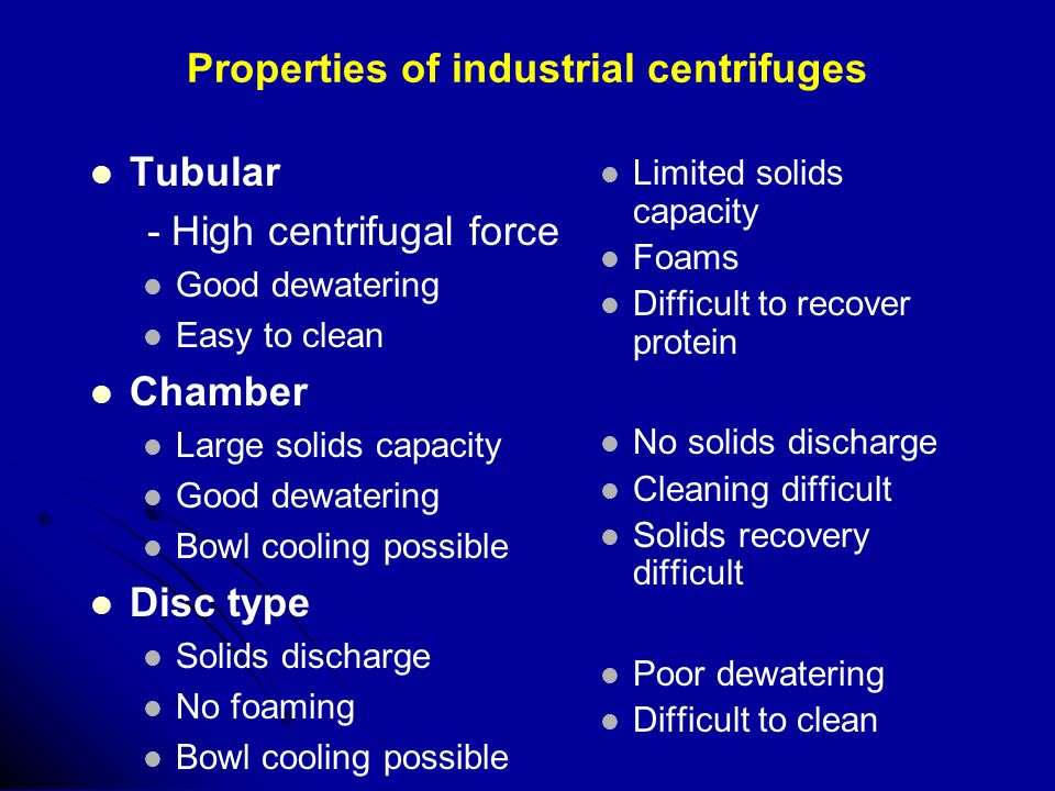 Properties of industrial centrifuges