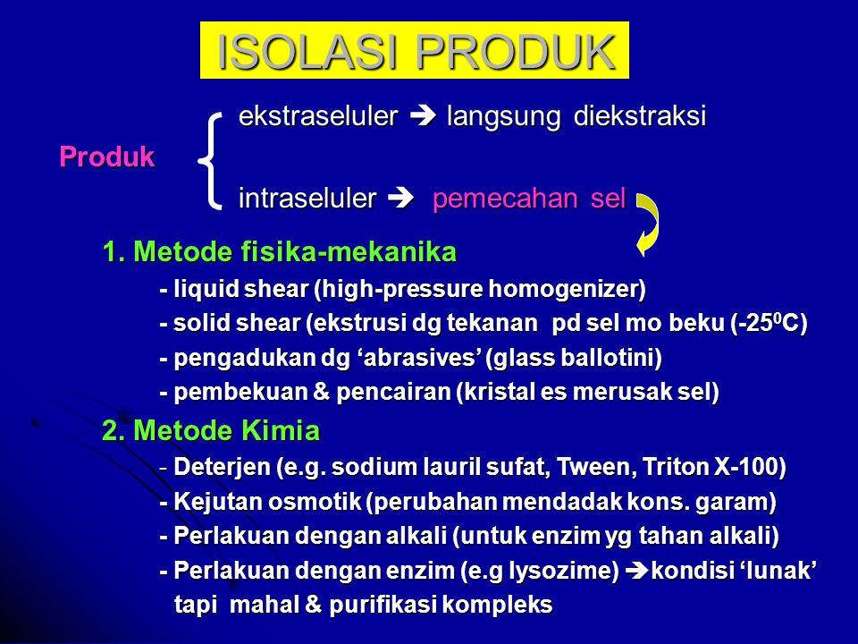 ISOLASI PRODUK ekstraseluler  langsung diekstraksi Produk