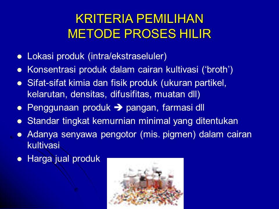 KRITERIA PEMILIHAN METODE PROSES HILIR
