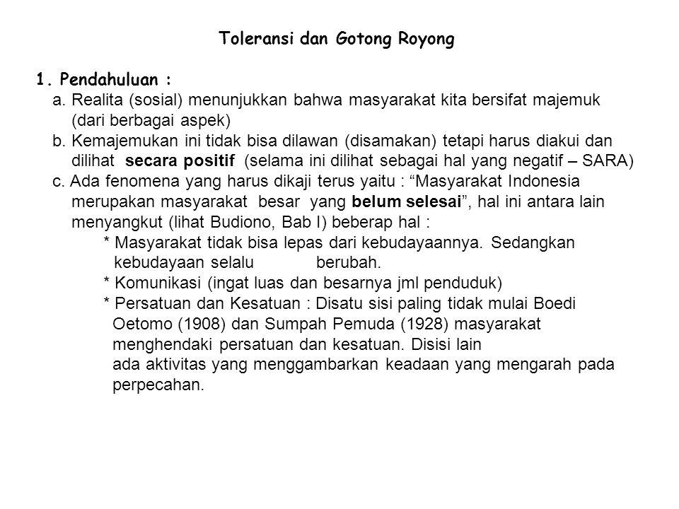 Toleransi dan Gotong Royong