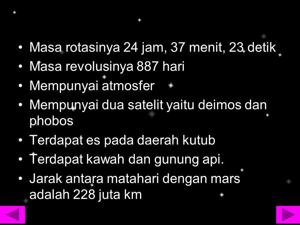 Masa rotasinya 24 jam, 37 menit, 23 detik