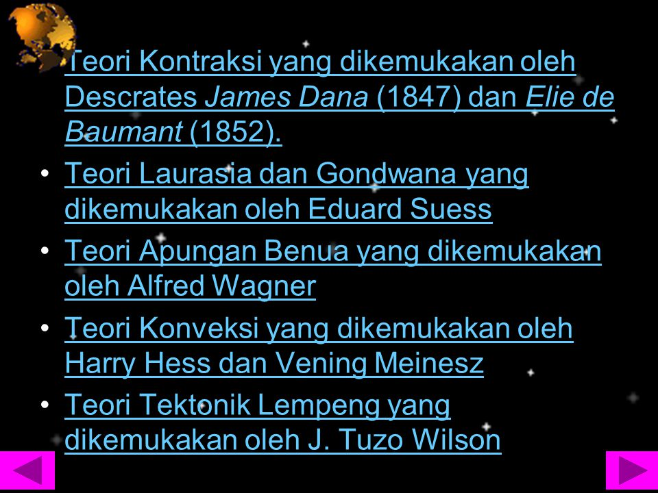 Teori Kontraksi yang dikemukakan oleh Descrates James Dana (1847) dan Elie de Baumant (1852).