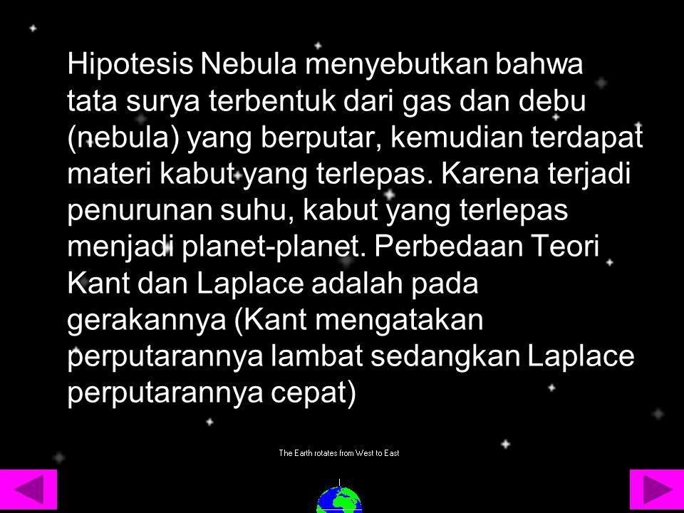 Hipotesis Nebula menyebutkan bahwa tata surya terbentuk dari gas dan debu (nebula) yang berputar, kemudian terdapat materi kabut yang terlepas.