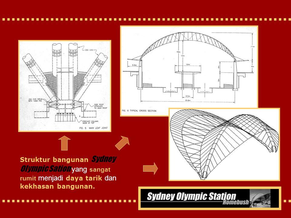 Struktur bangunan Sydney Olympic Sation yang sangat rumit menjadi daya tarik dan kekhasan bangunan.