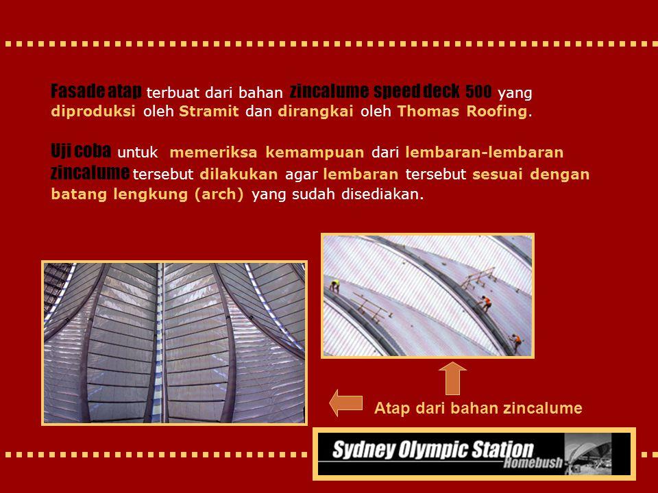 Fasade atap terbuat dari bahan zincalume speed deck 500 yang diproduksi oleh Stramit dan dirangkai oleh Thomas Roofing.