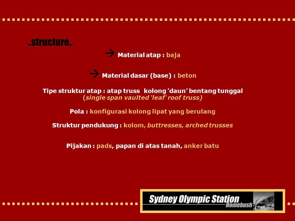  Material atap : baja  Material dasar (base) : beton
