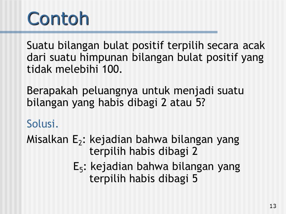 Contoh Suatu bilangan bulat positif terpilih secara acak dari suatu himpunan bilangan bulat positif yang tidak melebihi 100.