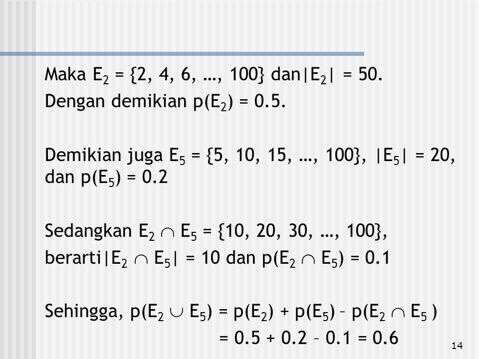 Maka E2 = {2, 4, 6, …, 100} dan|E2| = 50. Dengan demikian p(E2) = 0.5. Demikian juga E5 = {5, 10, 15, …, 100}, |E5| = 20, dan p(E5) = 0.2.