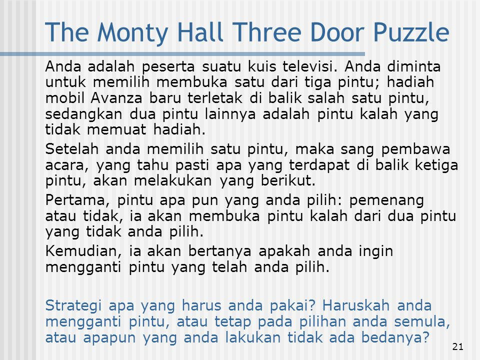 The Monty Hall Three Door Puzzle