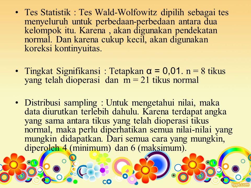 Tes Statistik : Tes Wald-Wolfowitz dipilih sebagai tes menyeluruh untuk perbedaan-perbedaan antara dua kelompok itu. Karena , akan digunakan pendekatan normal. Dan karena cukup kecil, akan digunakan koreksi kontinyuitas.