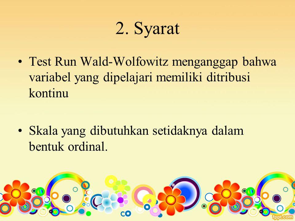 2. Syarat Test Run Wald-Wolfowitz menganggap bahwa variabel yang dipelajari memiliki ditribusi kontinu.