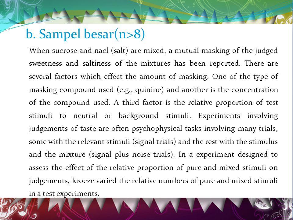 b. Sampel besar(n>8)