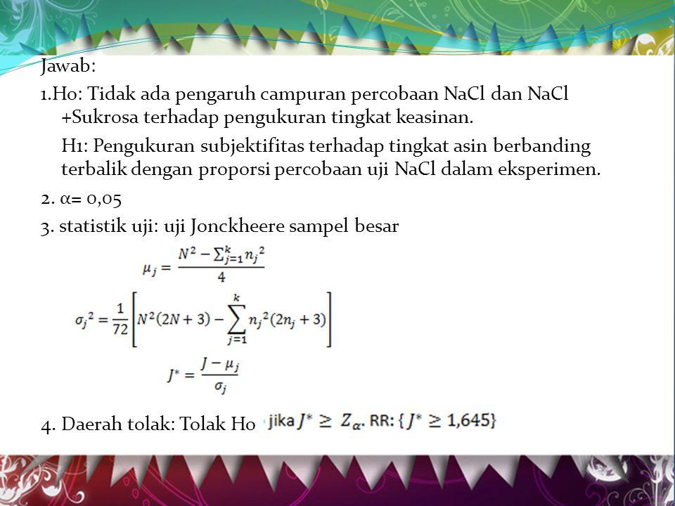 Jawab: 1.Ho: Tidak ada pengaruh campuran percobaan NaCl dan NaCl +Sukrosa terhadap pengukuran tingkat keasinan.
