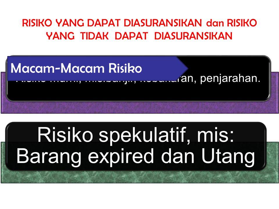 Risiko spekulatif, mis: Barang expired dan Utang