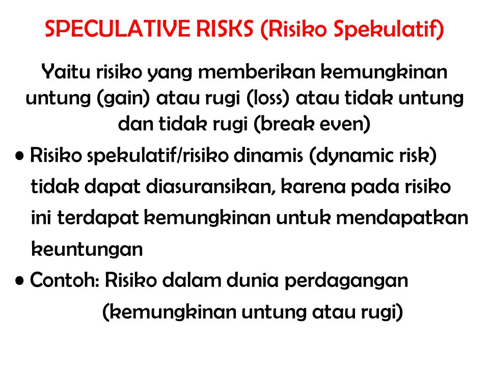 SPECULATIVE RISKS (Risiko Spekulatif)
