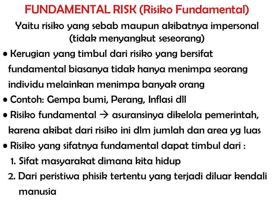 FUNDAMENTAL RISK (Risiko Fundamental)