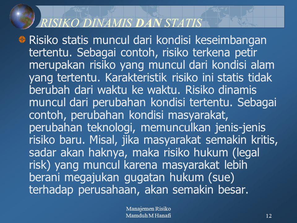 RISIKO DINAMIS DAN STATIS