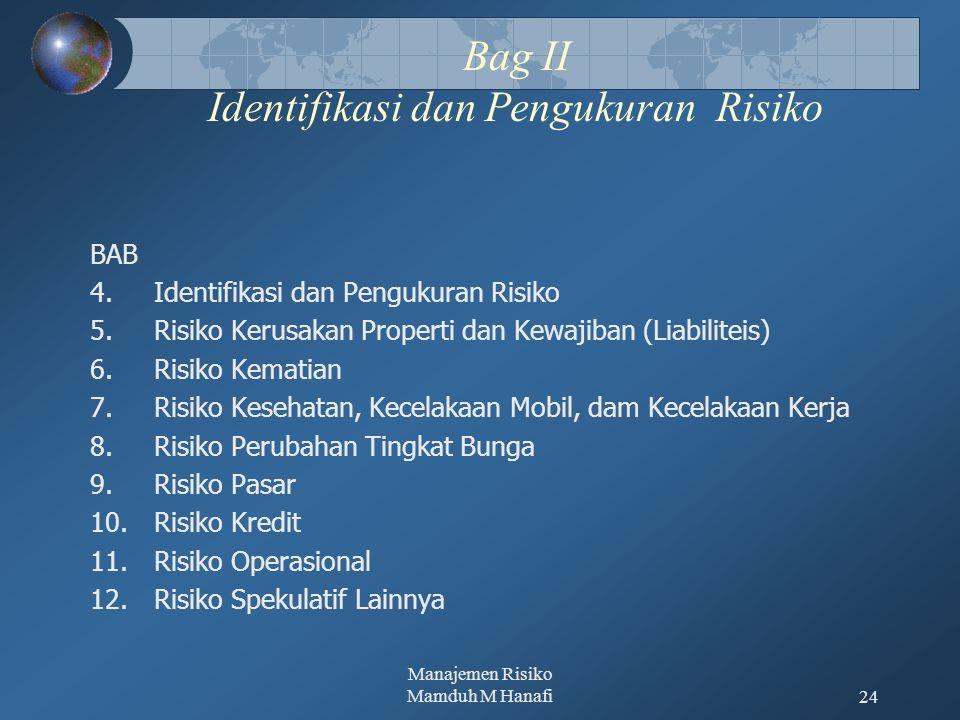 Bag II Identifikasi dan Pengukuran Risiko