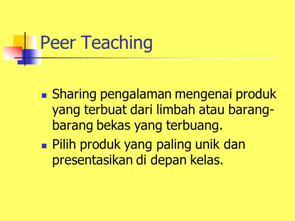 Peer Teaching Sharing pengalaman mengenai produk yang terbuat dari limbah atau barang-barang bekas yang terbuang.