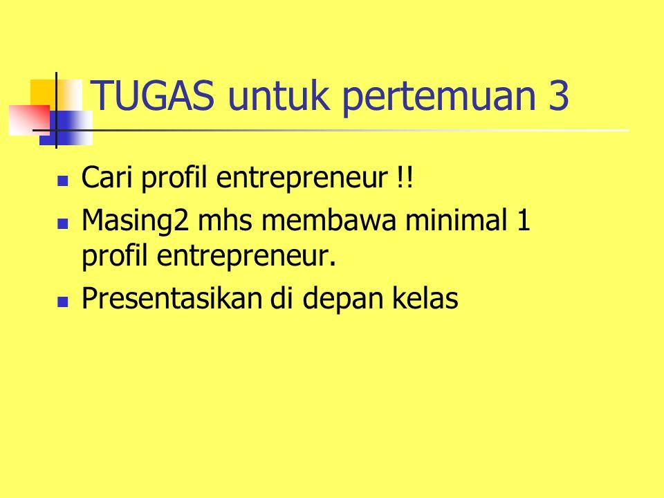 TUGAS untuk pertemuan 3 Cari profil entrepreneur !!