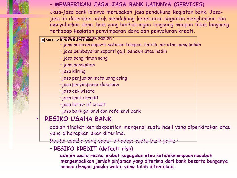 RESIKO USAHA BANK MEMBERIKAN JASA-JASA BANK LAINNYA (SERVICES)