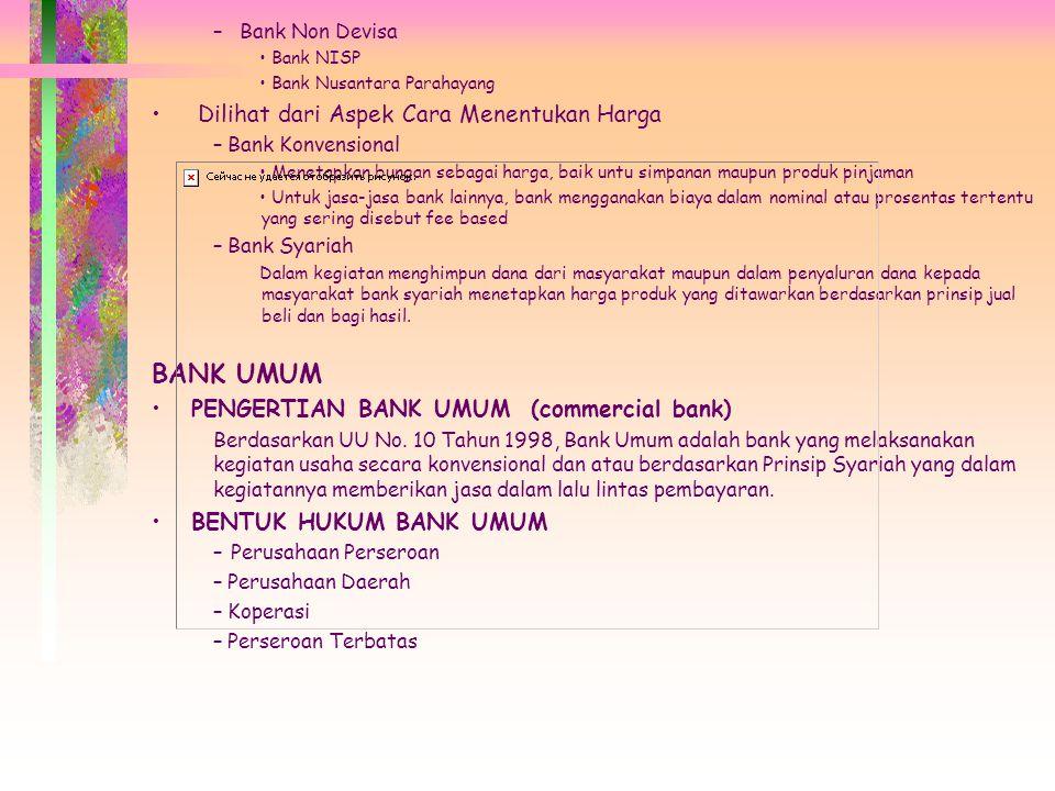 BANK UMUM Dilihat dari Aspek Cara Menentukan Harga