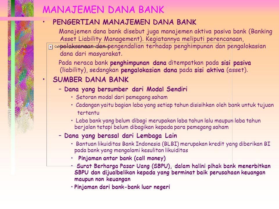 MANAJEMEN DANA BANK PENGERTIAN MANAJEMEN DANA BANK SUMBER DANA BANK