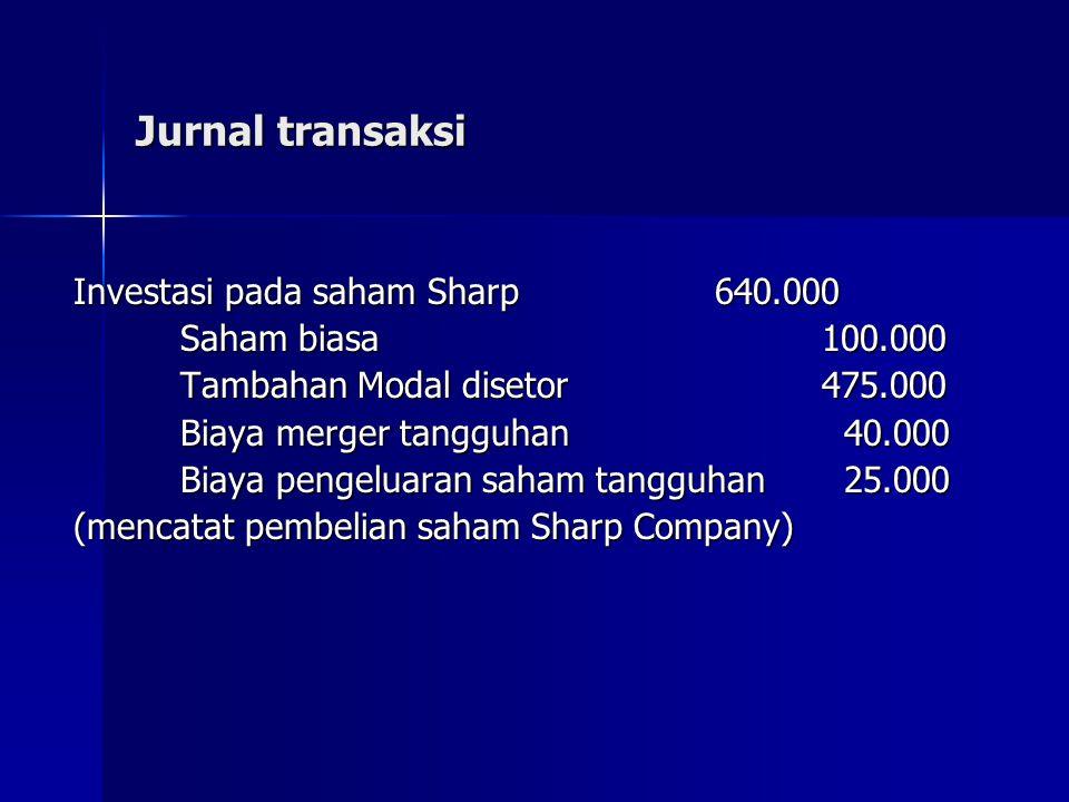 Jurnal transaksi Investasi pada saham Sharp 640.000