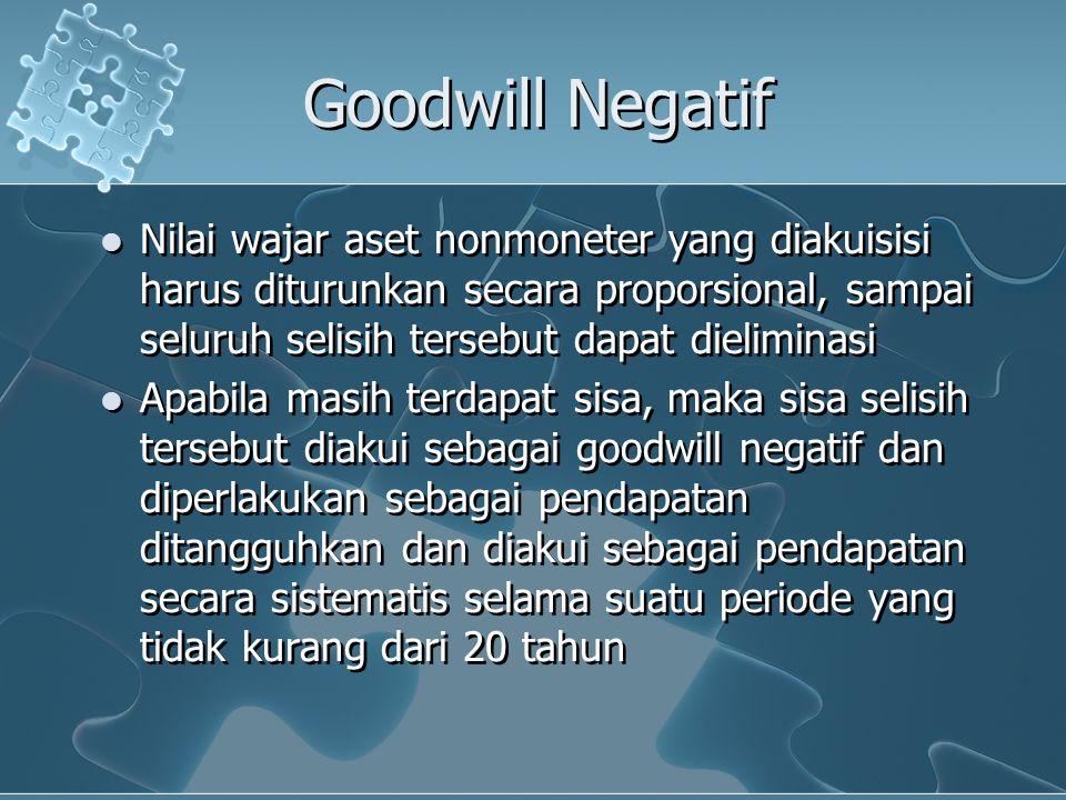 Goodwill Negatif Nilai wajar aset nonmoneter yang diakuisisi harus diturunkan secara proporsional, sampai seluruh selisih tersebut dapat dieliminasi.