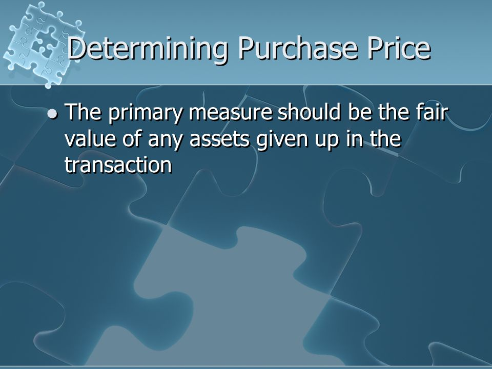 Determining Purchase Price