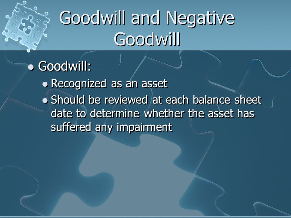Goodwill and Negative Goodwill