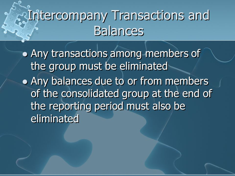 Intercompany Transactions and Balances