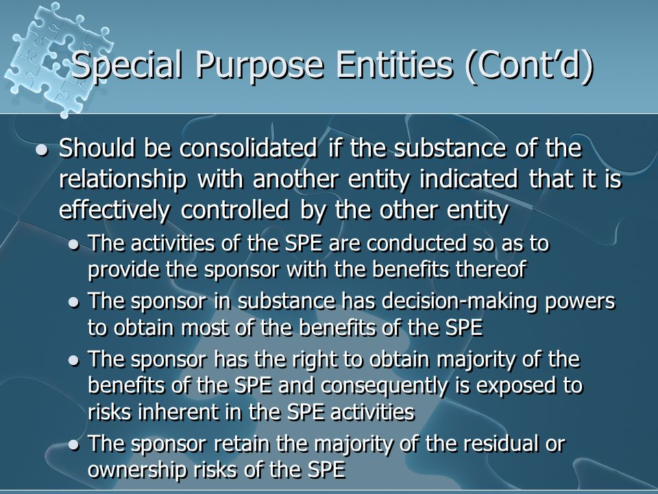 Special Purpose Entities (Cont'd)