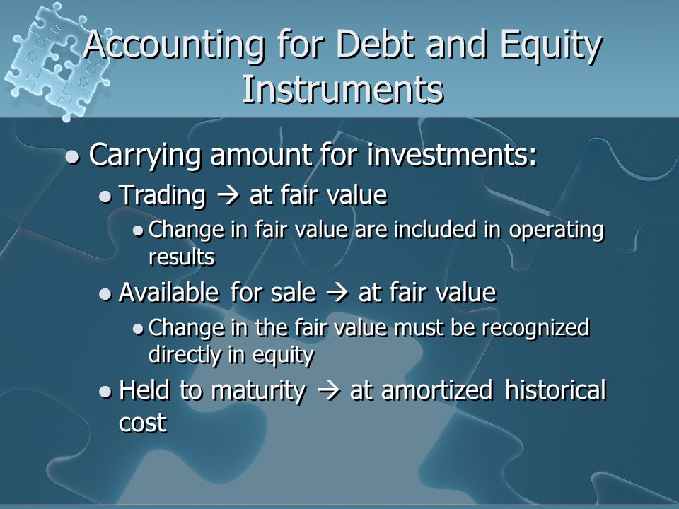 Accounting for Debt and Equity Instruments
