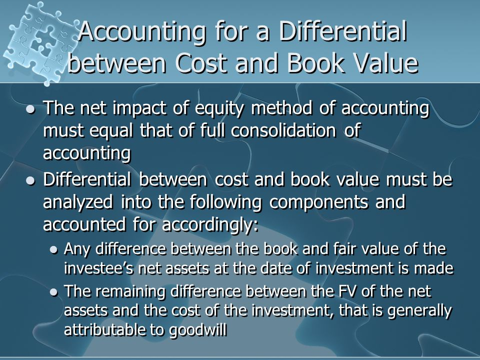 Accounting for a Differential between Cost and Book Value