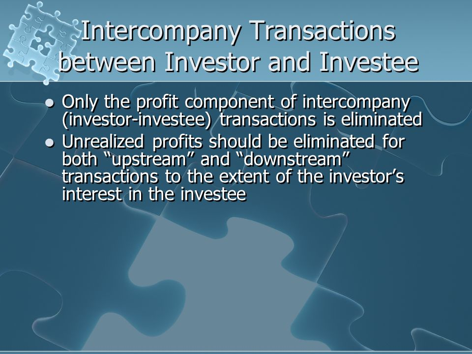 Intercompany Transactions between Investor and Investee