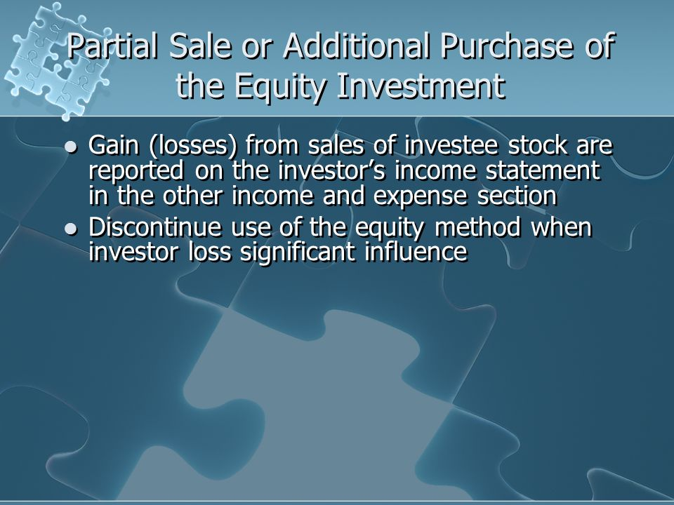 Partial Sale or Additional Purchase of the Equity Investment
