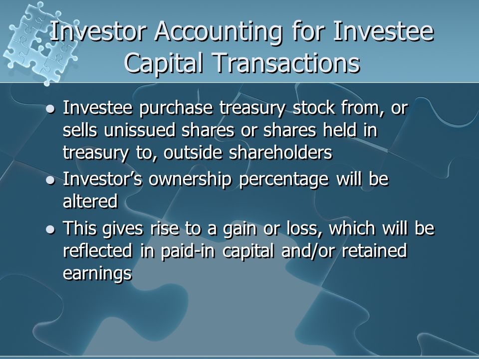 Investor Accounting for Investee Capital Transactions