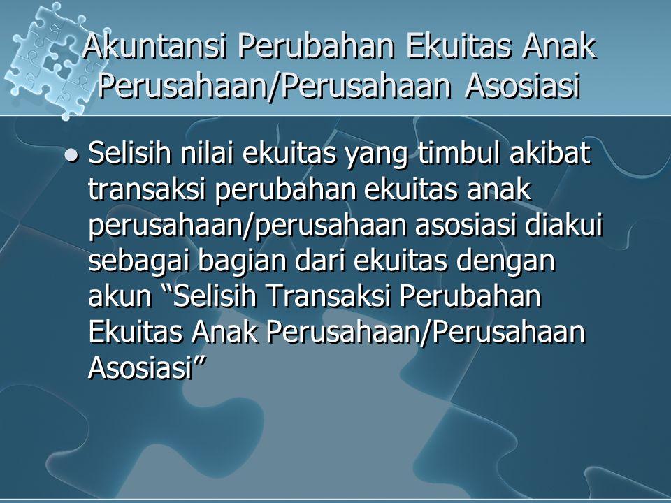 Akuntansi Perubahan Ekuitas Anak Perusahaan/Perusahaan Asosiasi