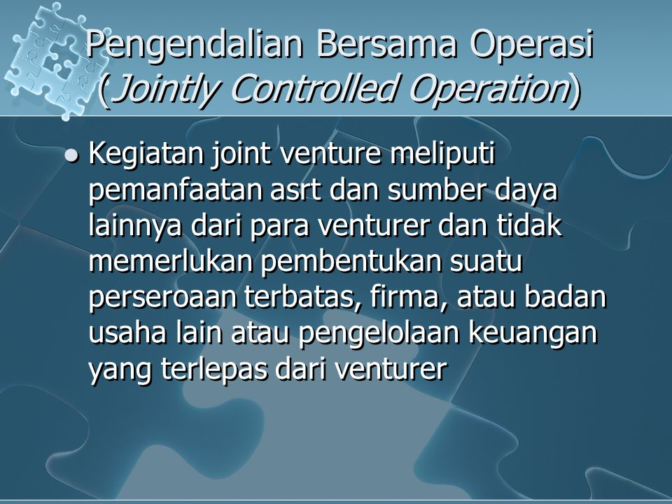 Pengendalian Bersama Operasi (Jointly Controlled Operation)