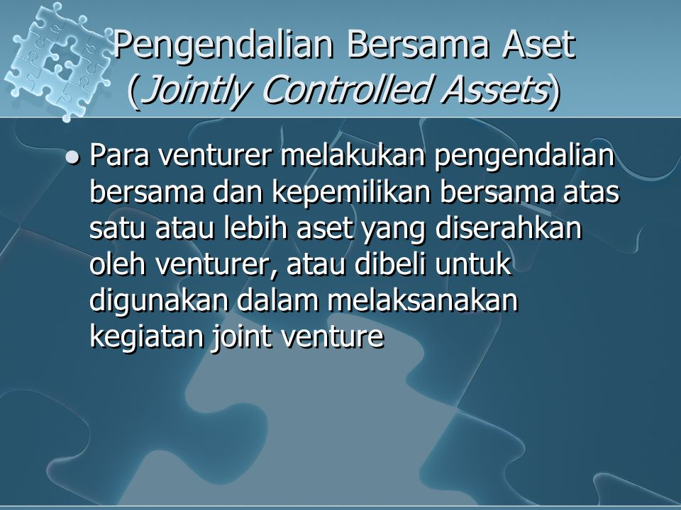 Pengendalian Bersama Aset (Jointly Controlled Assets)