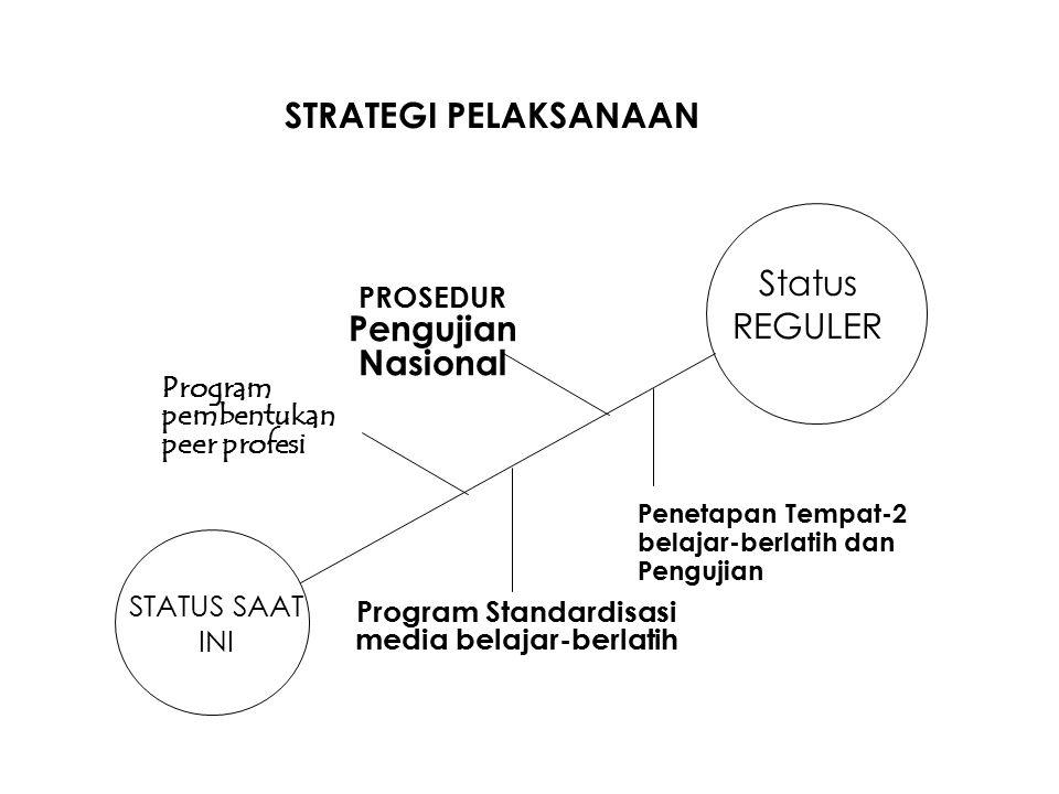 STRATEGI PELAKSANAAN Status REGULER PROSEDUR Pengujian Nasional