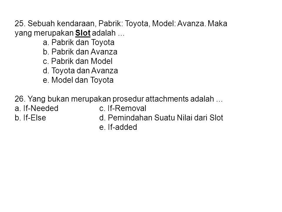 25. Sebuah kendaraan, Pabrik: Toyota, Model: Avanza