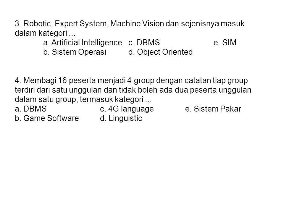 3. Robotic, Expert System, Machine Vision dan sejenisnya masuk dalam kategori ...