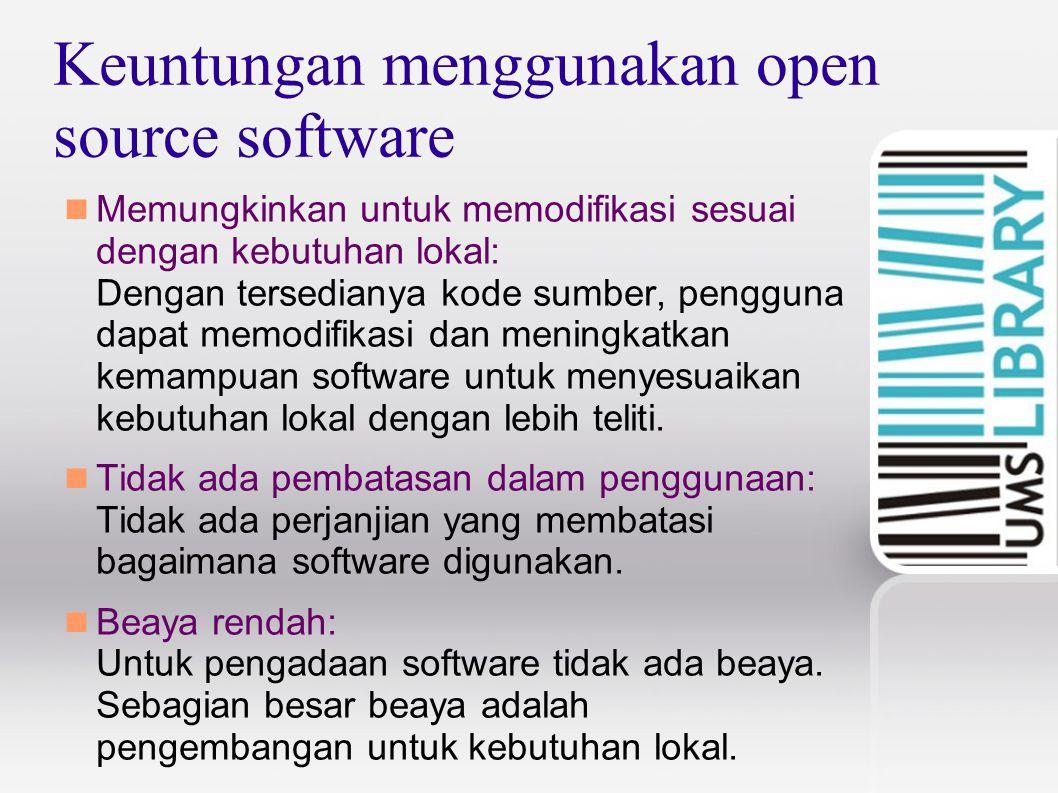 Keuntungan menggunakan open source software